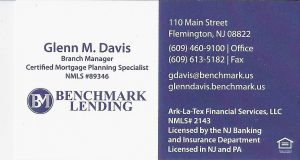 Benchmark Lending business card